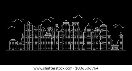 white cityscape with thin line skyscrapers. concept of city scape like singapore or new york. linear flat stroke simple style modern contour graphic minimal lineart design isolated on black background