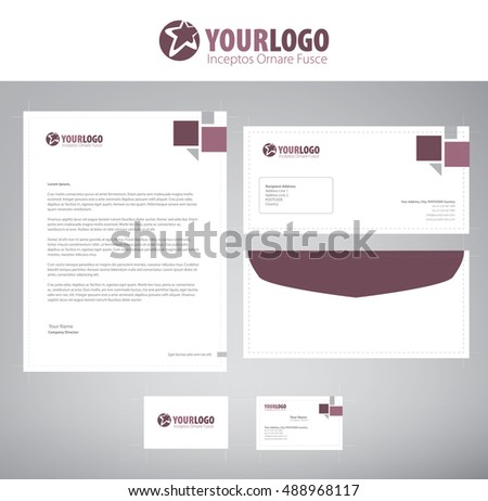 White classic corporate stationery template design