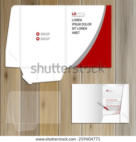 White classic folder template design for corporate identity with red and gray lines. Stationery set
