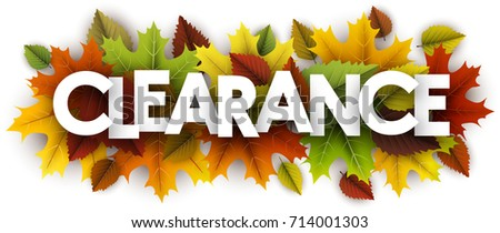 White clearance banner with colorful maple and birch leaves. Vector illustration.