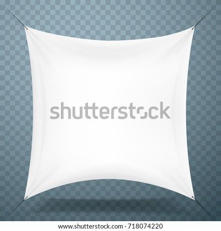 White cloth banner signboard transparent background. Vector illustration #718074220