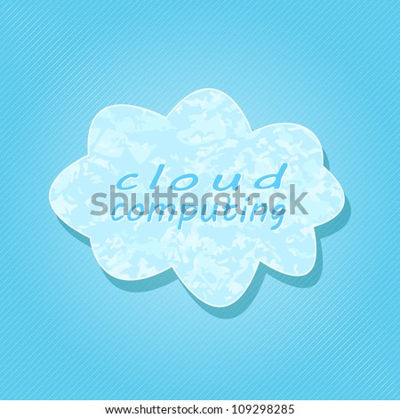 White Cloud Computing on Light Blue Striped Background. Computer Generation Vector Concept.