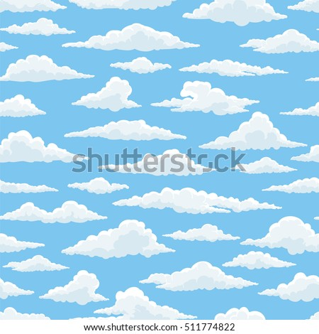 white clouds blue sky seamless
