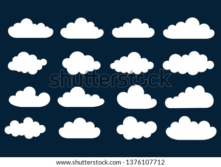 White clouds. On dark background. Banner Icons. Vector. Design elements.