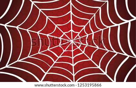 White Cobweb on Red background. Vector eps illustration Spider happy halloween party fun funny spooky logo creepy horror insect hush dia 31 october fest Spiderman hallow Webbing line pattern