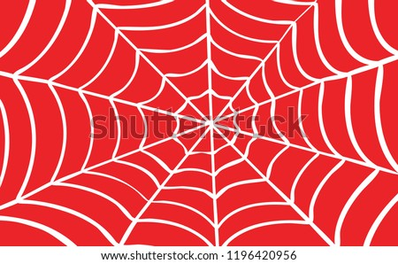 White Cobweb on Red background. Vector illustration Spider happy halloween party fun funny spooky logo fest creepy horror insect hush dia 31 october fest Spiderman hallow Webbing line pattern