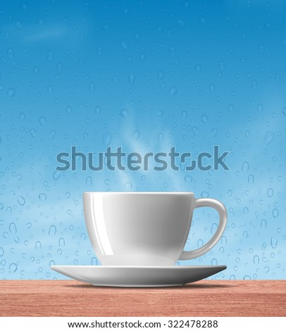 white coffee cup with smoke on