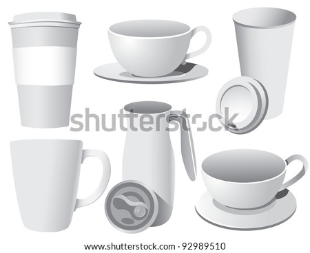 White coffee cups EPS 8 vector, grouped for easy editing. No open shapes or paths.