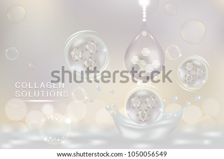 White Collagen Serum drop, cosmetic advertising background ready to use, luxury skin care ad, Illustration vector.