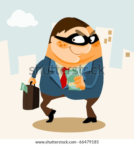 White Collar Crime, Corruption, Money laundering. Vector Illustration