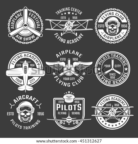 white color airplane emblem set