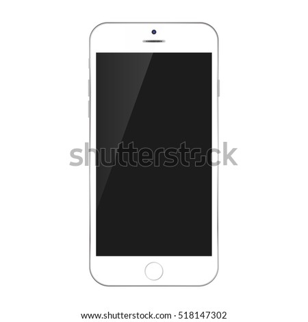 White color smart phone with black screen