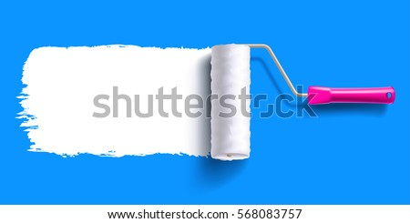white color trail of the roller brush on colorful background for headers, banners and advertising