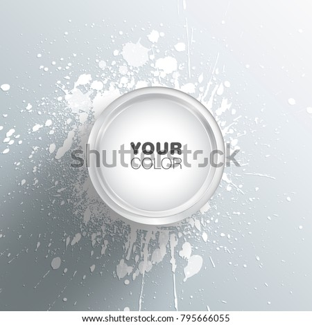 White colored paint bucket vector illustration with splashes and spots on the ground and editable text box on the top of the cover eps 10