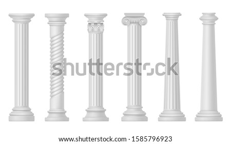 White columns, classic Roman and Greek style ancient architecture vector elements. White marble or stone pillar columns with ornate capitals and baroque patterns design