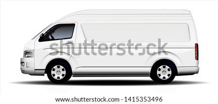 white commercial minibus on white background
