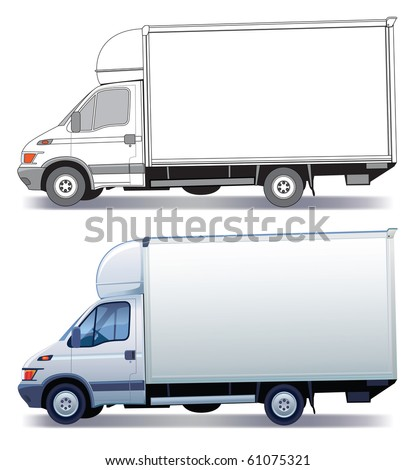 White commercial vehicle - delivery truck - colored and layout