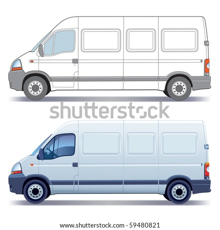 White commercial vehicle - delivery van - colored and layout