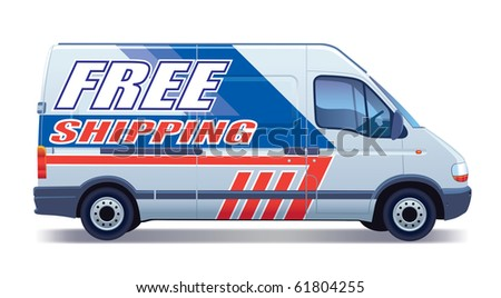 White commercial vehicle - delivery van ? free shipping