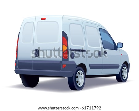 White commercial vehicle - delivery van on a white background.