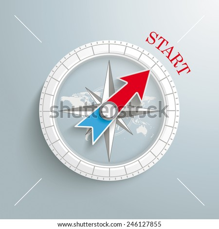 white compass with red text
