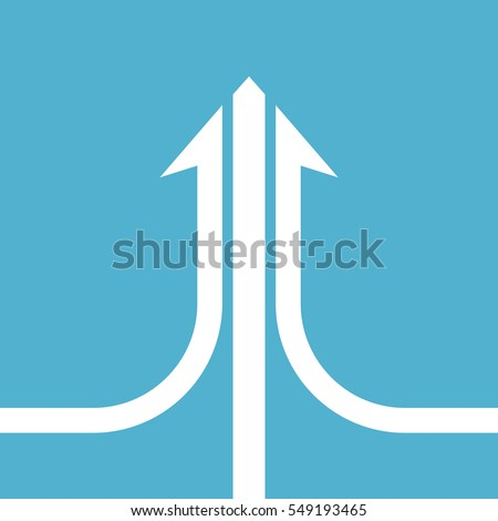 White compound arrow consisting of three ways on blue background. Teamwork, development and merging concept. Flat design. Vector illustration. EPS 8, no transparency