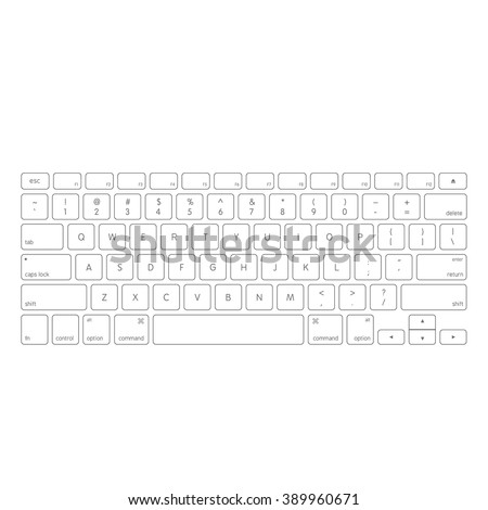 White computer keyboard button layout template with letters for graphic use, vector illustration eps 10