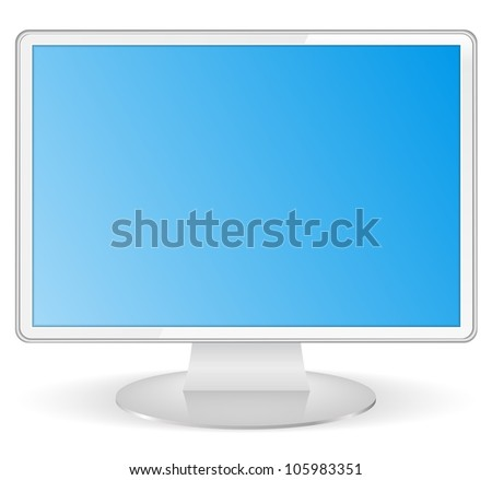 White computer monitor, vector eps10 illustration
