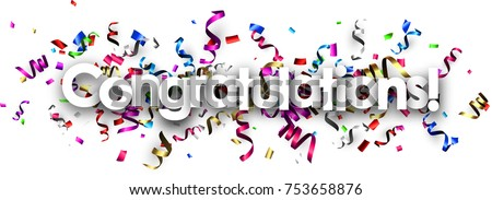 White congratulations banner with colorful paper serpentine. Vector illustration.