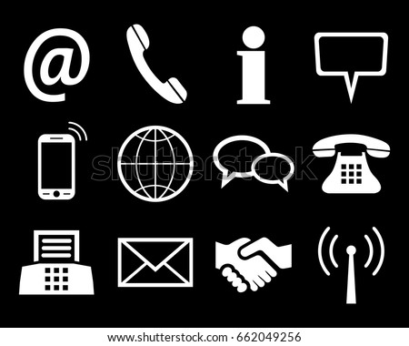 White contact icons - stock vector