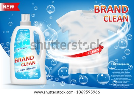 White container 3d bottle with laundry detergent ad. Stain remover package design for advertising. Washing detergent banner with clean shirt on blue background. Vector illustration
