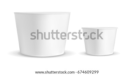 White container for ice cream or fast food. Packaging for popcorn and snack.