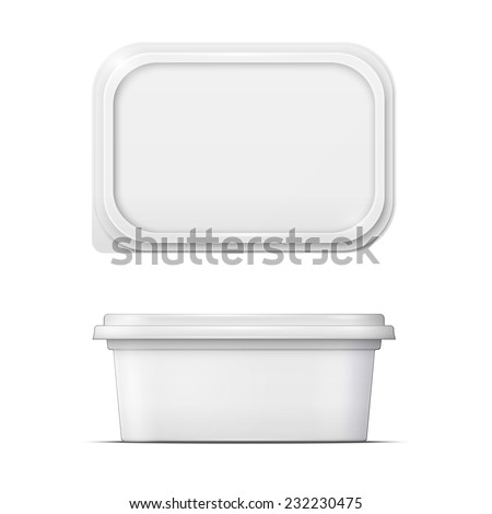 White container for margarine spread, butter or melted cheese,  front and upper view on white background. Packaging collection.