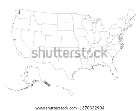 White Contour Map of Federal States of the United States of America