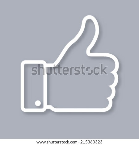 White contour of thumb up icon on gray background, vector logo