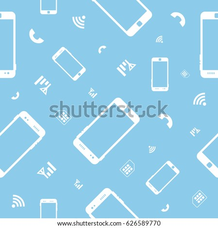 White contours of mobile phones on a blue background. Seamless pattern.