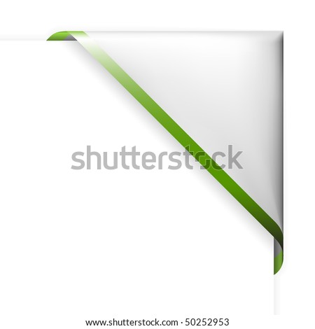 White corner ribbon with green thin border