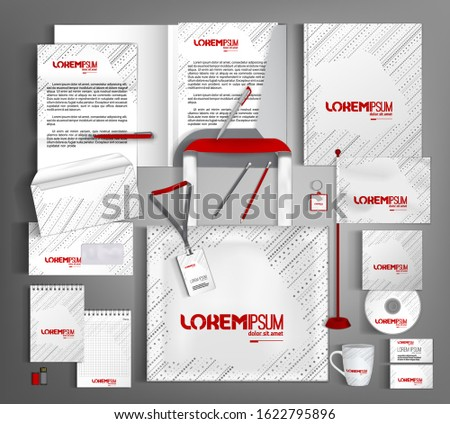 White corporate identity design template. Business stationery set with gray dotted lines. Vector illustration