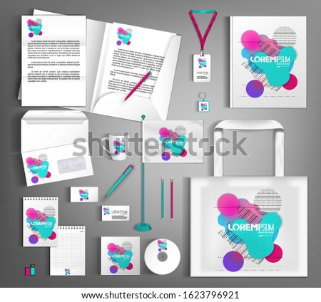 White corporate identity design template with multi-colored shapes of fluid and geometry. Business stationery set. Vector illustration