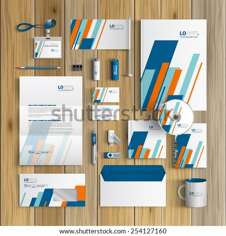 White corporate identity template design with blue and orange diagonal shapes. Business stationery