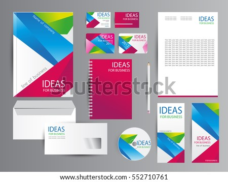 White corporate identity template design with color diagonal shapes. #552710761