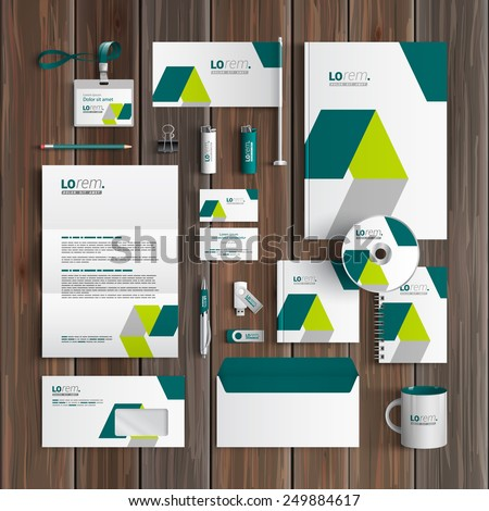 White corporate identity template design with green geometric elements. Business stationery