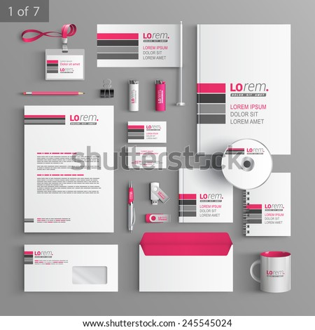 White corporate identity template design with pink and gray lines. Business stationery