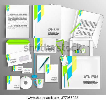 White corporate identity template with color elements. Vector company style for brandbook and guideline #377055292