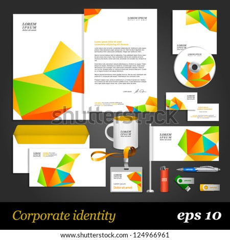White corporate identity template with color origami elements. Vector company style for brandbook and guideline. EPS 10