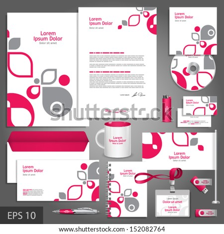 White Corporate Identity Template With Pink And Gray Design Elements. Vector Company Style For Brandbook And Guideline. Eps 10