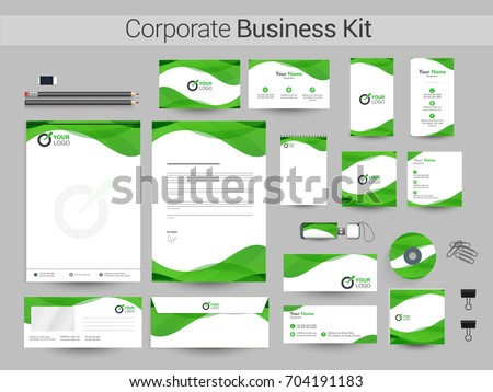 White Corporate Identity with green waves. Professional Business Branding Kit including Letter Head, Web Banner or Header, Notepad and other objects.