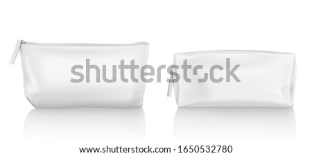 White cosmetic bag with zipper for makeup and beauty tools. Vector realistic mockup of blank fabric pouch with zip for toiletry, soap and body care products. Small beauticians for travel Сток-фото ©