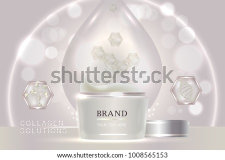 White cosmetic container with advertising background ready to use, luxury skin care ad design. illustration vector