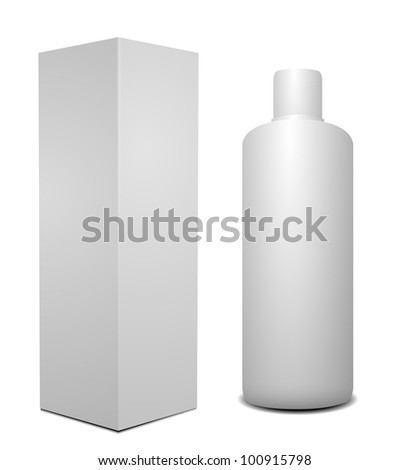 White cosmetics containers, bottle with package